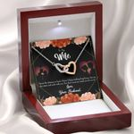 You Don't Cross My Mind Gift For Wife Interlocking Hearts Necklace With Mahogany Style Gift Box