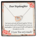 Our Hearts And Souls Are Bound Together Interlocking Hearts Necklace Gift For Stepdaughter