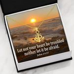 Let Not Your Heart Be Troubled Anchor Necklace