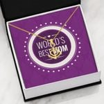 Purple White Circle World's Best Mom Anchor Necklace