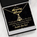To An Amazing Woman Sweetest Mom Ever Anchor Necklace
