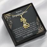To My Stepdaughter Family Reminder Giraffe Couple Necklace