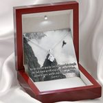 Wait Upon the Lord Inspirational Message Gift 14K White Gold Alluring Beauty Necklace With Mahogany Style Gift Box