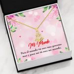 Mi Mundo Pink Heart With Message Card Anchor Necklace
