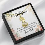 To My Daughter Wonderful Reminder To Dad Giraffe Couple Necklace