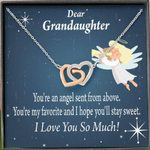 Interlocking Hearts Necklace Gift For Granddaughter Angel You're My Favorite