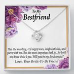 Purple Flower Love Knot Necklace Gift For Bestfriend Plan The Wedding