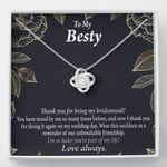 Love Knot Necklace Gift For Besty Thank For Being My Bridesmaid