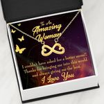 Thank For Giving Me The Best Infinity Heart Necklace Gift For Mom