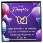 Wishing You Happiness In All You Do Gift For Daughter Interlocking Hearts Necklace