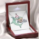 Shark Birthday Message Card Interlocking Hearts Necklace Gift For Women
