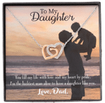 You Fill My Life With Love Gift For Daughter Interlocking Hearts Necklace With Mahogany Style Gift Box