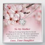 Thank You For Being There For Me Gift For Mom Peach Blossom Love Knot Necklace