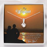 Sunset I Love You Gift For Lover 14K White Gold Alluring Beauty Necklace With Mahogany Style Gift Box