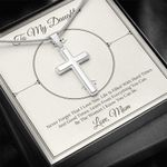 Never Forget I Love You Cross Necklace Mom Gift For Daughter