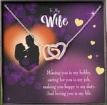 Loving You Is My Life Interlocking Hearts Necklace Gift For Wife