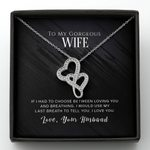 Loving You And Breathing Gray Gift Fir Wife Double Hearts Necklace