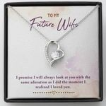 Look At You 14K White Gold Forever Love Necklace Gift For Future Wife