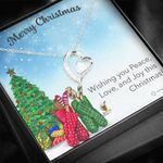 Merry Christmas Wishing You Peace Love Joy Forever Love Necklace