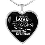 Those We Love Do Not Go Away Footprints Heart Pendant Necklace