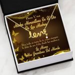 Spanish Loving Message Card Scripted Love Necklace Gift For Mom