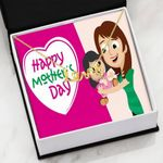 Pink Background Happy Mother's Day Scripted Love Necklace Gift For Women