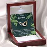 Lucky To Have You Gift For Partner Interlocking Hearts Necklace With Mahogany Style Gift Box