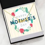 Rose Leaf Circle Happy Mother's Day Scripted Love Necklace Gift For Mom
