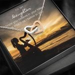 Musician Harp Silhouette Interlocking Hearts Necklace Gift For Daughter Believe In Your Talent