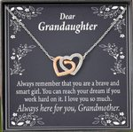 Interlocking Hearts Necklace Grandma Gift For Granddaughter Always Here For You
