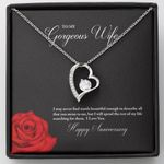 Red Rose Love 14K White Gold Forever Love Necklace Gift For Wife