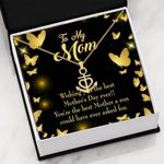 The Best Mother's Day Message Card Anchor Necklace Son Gift For Mom