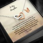 Interlocking Hearts Necklace Mom Gift For Daughter Butterfly Love The Girl You Were