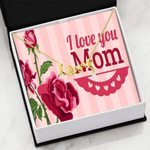 Red Roses I Love You Scripted Love Necklace Gift For Mom