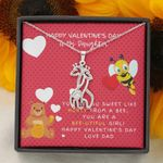 Sweet Like Honey Pink Polka Dot Giraffe Couple Necklace Dad Gift For Daughter