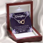 You Are Beautiful Gift For Daughter Interlocking Hearts Necklace With Mahogany Style Gift Box