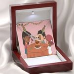 Kids Party Birthday Message Card Interlocking Hearts Necklace With Mahogany Style Gift Box