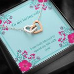 Interlocking Hearts Necklace Gift For Wife Pink Flower Spend My Life With You