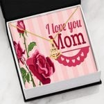 Red Rose I Love You Mom Gift For Mom Anchor Necklace