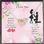 Loving You And Breathing Gift For Lover Interlocking Hearts Necklace
