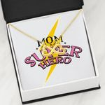 Mom Is My Super Hero Infinity Heart Necklace Gift For Women