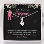 Message Card Alluring Beauty Necklace Gift For Lovers Most Beautiful Angel In My Life