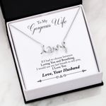 Loving You And Breathing Scripted Love Necklace Gift For Wife