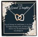 You Are Amazing Gift For Granddaughter Interlocking Hearts Necklace With Mahogany Style Gift Box