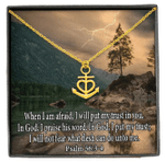 When I Am Afraid I Put My Trust In You Religious Gift Anchor Necklace