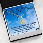 The Lord Is My Strength Religious Gift For Christian 18K Gold Anchor Necklace
