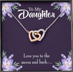 Love You To The Moon And Back Gift For Daughter Interlocking Hearts Necklace With Mahogany Style Gift Box