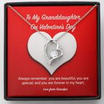 You Are Forever In My Heart Gift For Granddaughter 14K White Gold Forever Love Necklace