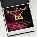 Thank For Being My Loving Person Infinity Heart Necklace Gift For Mom