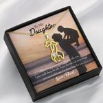 To My Daughter From Dad Always Here For You Giraffe Couple Necklace